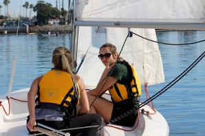 Paige and Kseniya taking out our club Capri 14s for a harbor cruise.