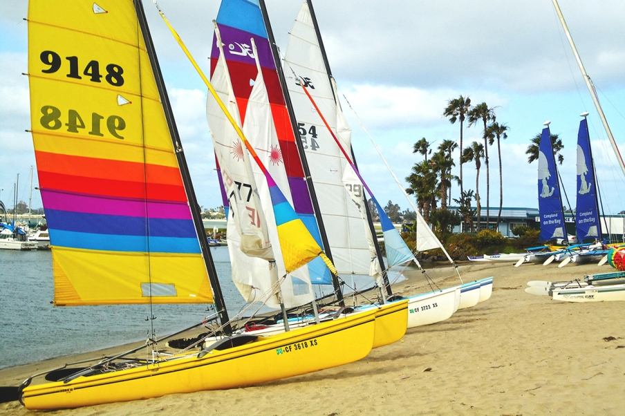 Hobie catamaran sailing is the highlight of our annual weekend in Mission Bay, San Diego.